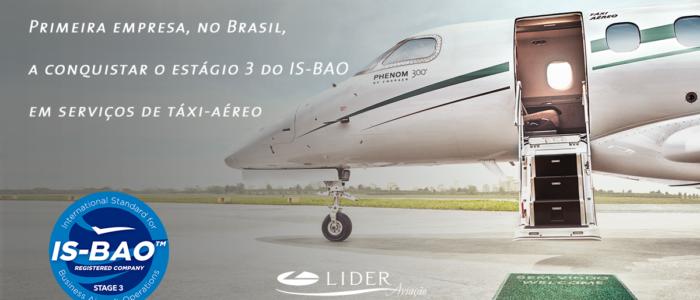 IS-BAO 3- Líder é a primeira no Brasil a conquistar o estágio 3 do IS-BAO em serviços de táxi-aéreo